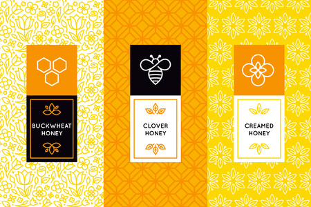 Illustration for Vector packaging design templates in trendy linear style - natural and farm honey packaging - labels and tags with floral seamless patterns - Royalty Free Image