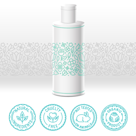 Illustration pour Vector design kit - set of design elements, icons and badges for natural and organic cosmetics in trendy linear style - packaging template with label with floral pattern - image libre de droit
