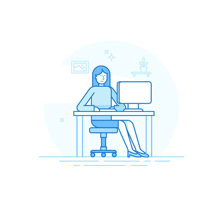Illustration pour illustration in trendy flat linear style and blue colors - woman working sitting at the desk with computer - creative and freelance work concept in home office - image libre de droit