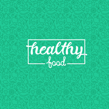 Foto de Healthy food - motivational poster or banner with hand-lettering phrase on green background with trendy linear icons and signs of fruits and vegetables - Imagen libre de derechos