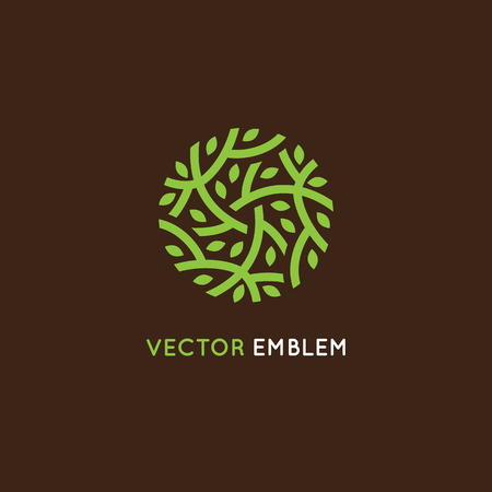Illustration pour design template in green color - abstract sign end emblem for holistic medicine centers, organic food stores, natural cosmetics products - circle made with leaves and branches - image libre de droit