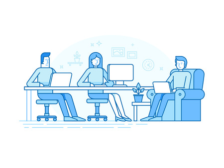 Illustration pour illustration in trendy flat linear style and blue colors - coworking space with creative team sitting at the desk with computers and laptops working on online business and start up - banner for website - image libre de droit