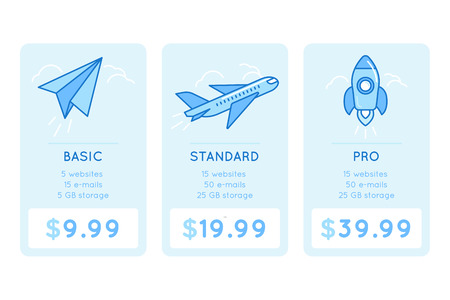 Illustration pour design template for pricing table for website with icons and illustrations in linear style - different subscription plans for businesses - basic, standard and pro - image libre de droit
