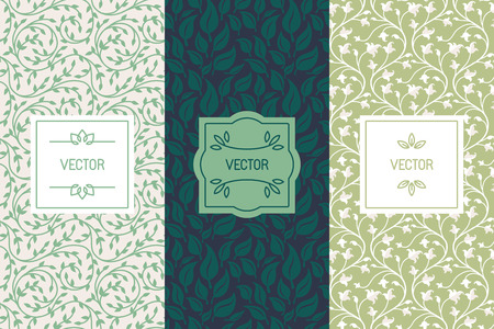 Ilustración de Vector set of packaging design templates, seamless patterns and frames with copy space for text for cosmetics, beauty products, organic and healthy food with green leaves and flowers - modern style ornaments and backgrounds - Imagen libre de derechos