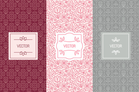 Illustration pour Vector set of design elements, seamless patterns and label templates for cosmetic and beauty product packaging or business card backgrounds with copy space for text, in trendy minimal linear style with floral ornaments and frames - image libre de droit