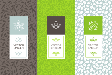 Illustration pour Vector set of packaging design templates, seamless patterns and frames with copy space for text for cosmetics, beauty products, organic and healthy food with green leaves and flowers - modern style ornaments and backgrounds - image libre de droit