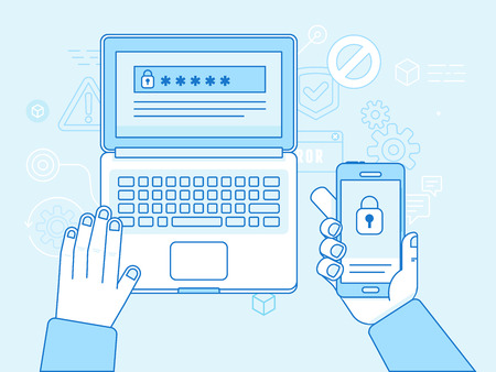Ilustración de Vector flat linear illustration in blue colors and trendy flat linear style - multi factor authentication and online access control concept - laptop and mobile phone with password and authorization code to secure user data - Imagen libre de derechos