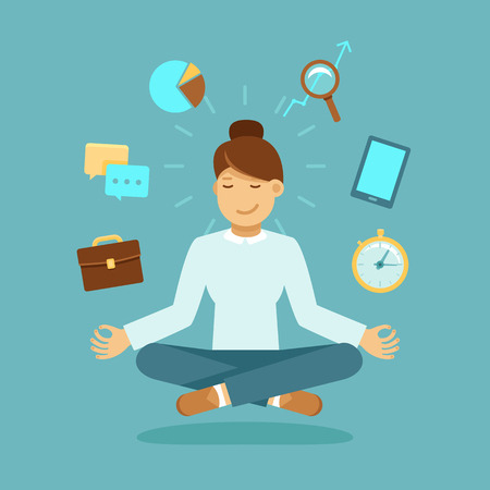 Illustrazione per Vector illustration in modern flat style - business woman meditating - time management, stress relief and problem solving concepts - man thinking about business in lotus pose - Immagini Royalty Free