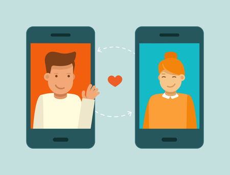 Illustration pour Vector illustration in trendy flat style - online dating app concept - mobile phone with application on the screen - man and woman searching for love and relationship - image libre de droit