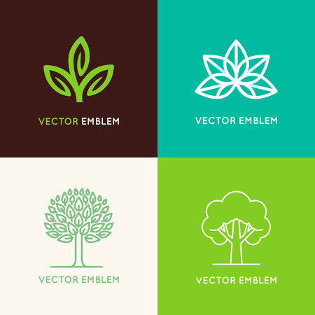 Ilustración de Vector set of logo design templates and emblems made with leaves and flower - badge for yoga studios, holistic medicine centers, natural cosmetics, handcrafted jewelry and organic food products - Imagen libre de derechos