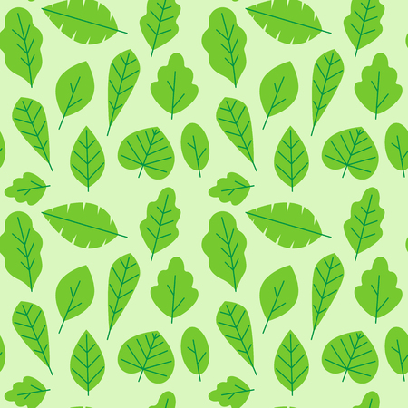 Ilustración de Vector seamless pattern in trendy flat and linear style with leaves - wrapping paper design template and background for packaging in green colors for organic cosmetics - Imagen libre de derechos