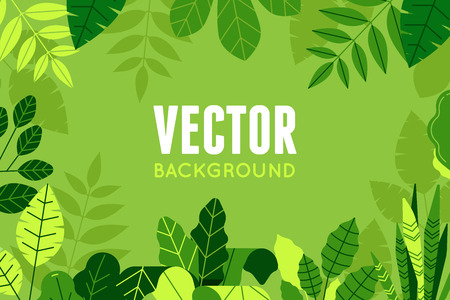 Illustration for Vector illustration in trendy flat and linear style - background with copy space for text - green plants and leaves - Royalty Free Image