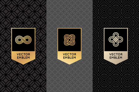 Illustration for Vector set of design elements, labels and frames for packaging for luxury products in trendy linear style - simple and bright background made with golden foil on black background with copy space for text - Royalty Free Image