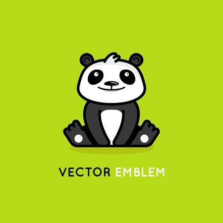 Illustration pour Vector logo design template in cartoon flat linear style - little smiling panda bear - emblem, mascot, sticker or badge for kids store, center, packaging or asian food - image libre de droit