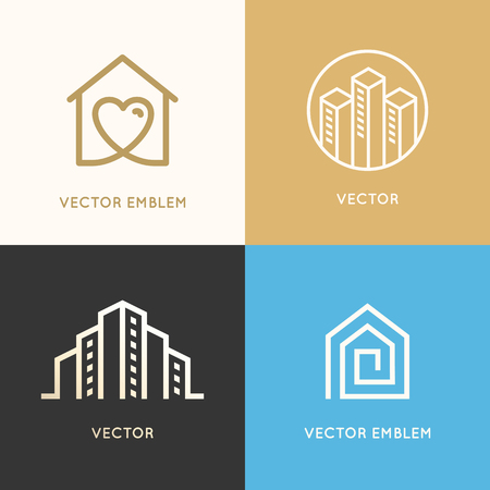 Ilustración de Vector set of logo design elements and emblems related to construction, renovation and real estate industry - buildings - house with heart, city skyline - Imagen libre de derechos