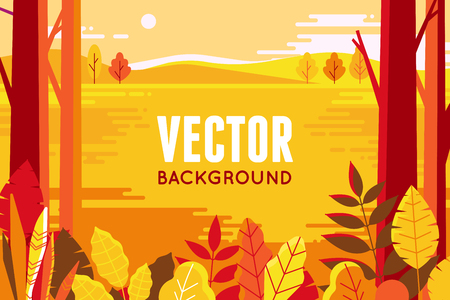 Illustration pour Vector illustration in flat linear style - autumn background - landscape illustration with plants, trees and copy space for text - for autumn banners - image libre de droit