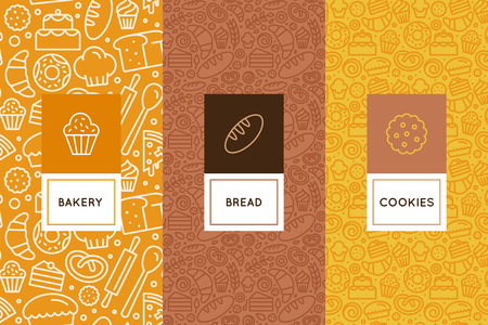 Illustration for Vector set of design templates and elements for bakery packaging in trendy linear style - seamless patterns with linear icons related to baking, cafe, cupcake shop. - Royalty Free Image