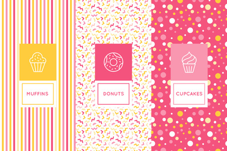 Illustration pour Vector set of logo design templates and seamless patterns in flat linear style for packaging - sweet cupcakes - emblems for confectionery store, bakery and cafe. - image libre de droit