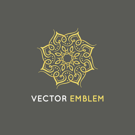 Illustration for Vector logo design template - abstract symbol in ornamental arabic style - emblem for luxury products, hotels, boutiques, jewelry, oriental cosmetics, restaurants, shops and stores  - Royalty Free Image