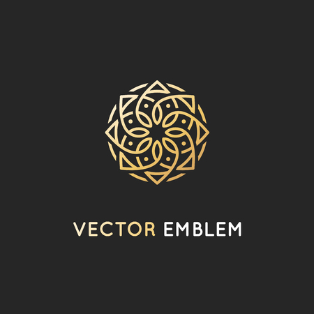 Illustration for Vector icon design template, abstract symbol in ornamental Arabic style. Emblem for luxury products, hotels, boutiques and more. - Royalty Free Image
