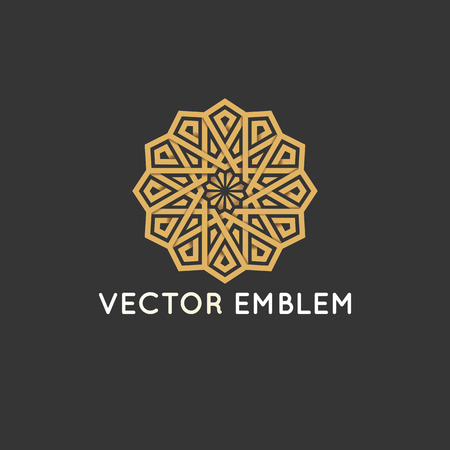 Illustration for Vector logo design template - abstract symbol in ornamental arabic style. - Royalty Free Image