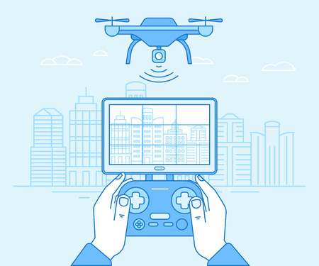 Illustration pour Vector illustration in flat linear style and blue colors - drone quadcopter and hands holding flight controller - new technology concept - drone flying over city landscape with camera - image libre de droit