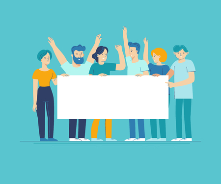 Illustration pour Vector illustration in flat line style - team of happy people holding white placard with copy space for text - image libre de droit