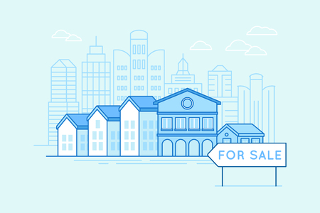 Illustration pour Vector illustration in trendy linear style and blue colors - houses and pointer for sale - real estate and mortgage concept - image libre de droit
