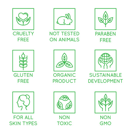 Ilustración de Vector set of design elements, logo design template, icons and badges for natural and organic cosmetics in trendy linear style - cruelty free, not tested on animals, paraben free, gluten free, organic product, sustainable development - Imagen libre de derechos