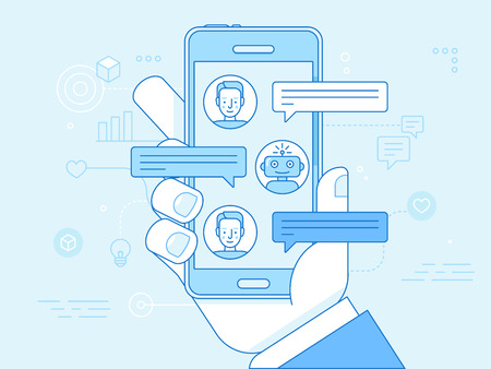 Illustration pour Vector flat linear illustration in blue colors - chatbot concept - virtual assistant and online support - image libre de droit