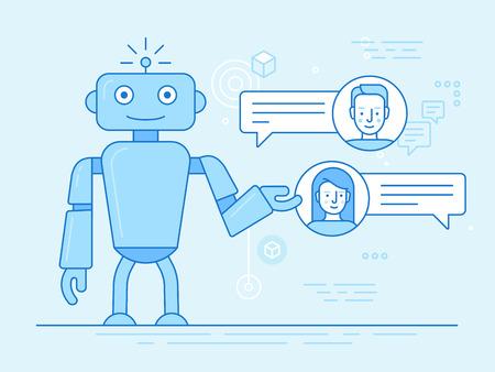 Ilustración de Vector flat linear illustration in blue colors - chatbot concept - virtual assistant and online support - Imagen libre de derechos