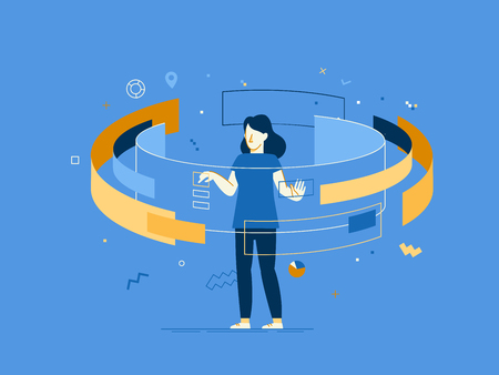 Illustration pour Vector illustration in flat linear style - web banner, info-graphics, hero image - web and app development creative concept with female character. - image libre de droit