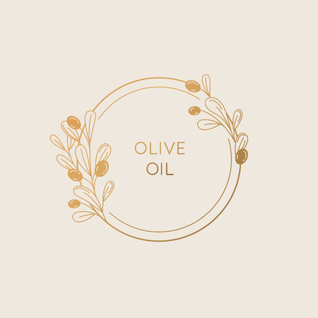 Illustration pour Vector linear frame and badge design for packaging for olive oil products, natural and organic cosmetics and beauty products - abstract logo template with copy space for text and leaves - image libre de droit