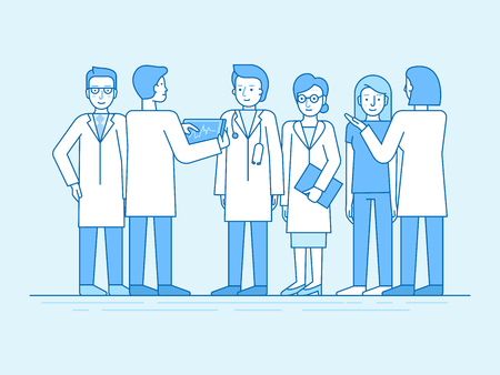 Illustration pour Vector illustration in flat linear style and blue color  - medical team - group of doctors and nurses standing together and discussing healthcare and treatment - hospital staff - image libre de droit