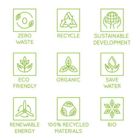 Ilustración de Vector set of design elements, logo design template, icons and badges for natural and organic ecological products  in trendy linear style - zero waste, recycle, sustainable, development, eco friendly, organic, save water, renewable energy - Imagen libre de derechos