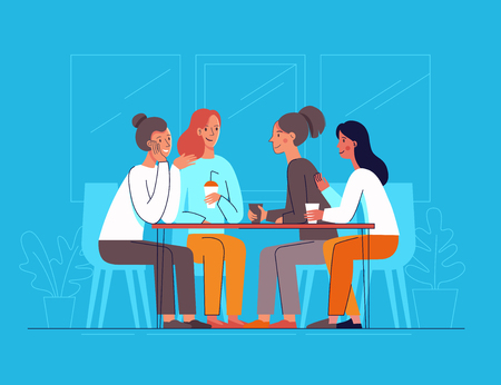 Illustration pour Vector illustration in flat linear style - female friends drinking coffee and chatting - cartoon characters  sitting at table in the cafe - image libre de droit