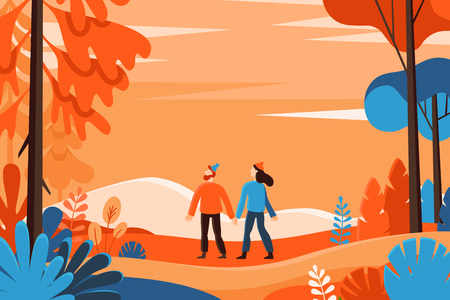 Ilustración de Vector illustration in flat linear style - autumn background - landscape illustration with two characters exploring autumn forest - greeting card design template - Imagen libre de derechos
