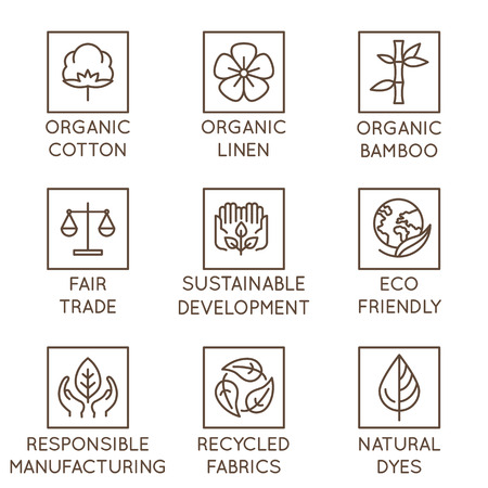 Ilustración de Vector set of linear icons and badges related to slow fashion and sustainable made textiles, fabrics, garment and clothes - eco-friendly manufacturing and fair trade certified producing - Imagen libre de derechos