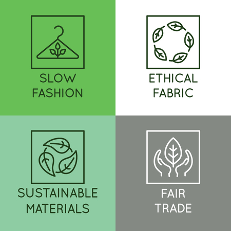 Illustration pour Vector set of linear icons and badges related to slow fashion - ethical fabric, sustainable materials, fair trade - eco-friendly manufacturing and organic certified producing of garment and apparel - image libre de droit