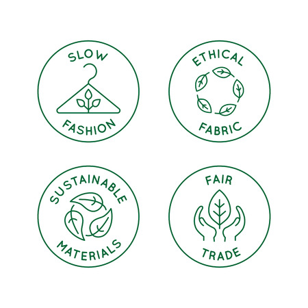 Ilustración de Vector set of linear icons and badges related to slow fashion - ethical fabric, sustainable materials, fair trade - eco-friendly manufacturing and organic certified producing of garment and apparel - Imagen libre de derechos