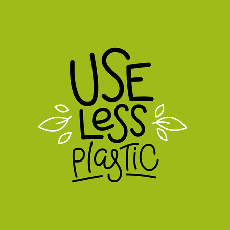 Ilustración de Vector logo design template and badge in trendy linear style and hand-lettering phrase use less plastic - zero waste concept, recycle and reuse, reduce - ecological lifestyle and sustainable development - Imagen libre de derechos
