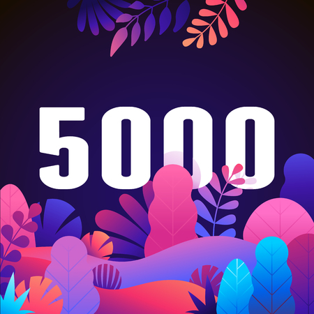 Illustrazione per Vector abstract illustration with leaves and flowers in gradient colours and bold numbers - count of followers on social media blog - 5000 fans and subscribers celebration - Immagini Royalty Free