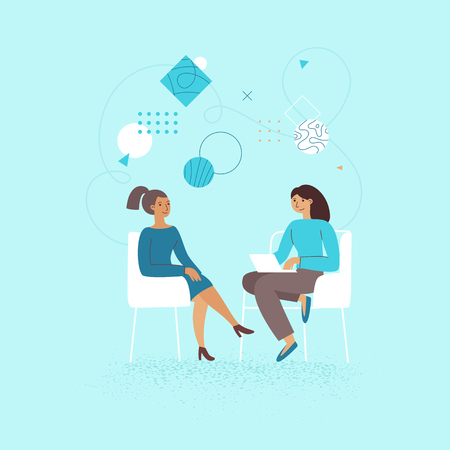 Illustrazione per Vector illustration in flat linear style - female business characters -  girl power concept, and woman empowerment - two women and start up meeting for interview and management - Immagini Royalty Free
