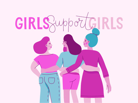 Ilustración de Vector illustration with female character and hand lettering phrase girls support girls - feminist movement  - concept for prints, cards - international women's day - Imagen libre de derechos