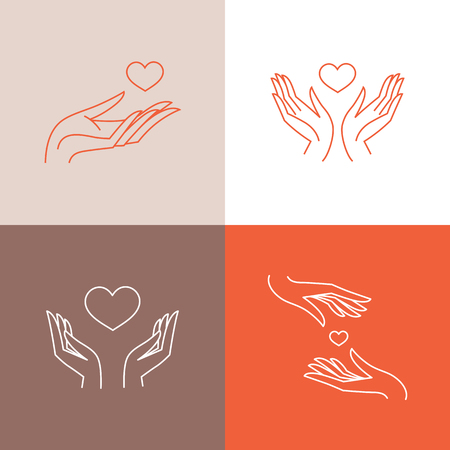 Illustration for Vector set of design templates in trendy linear style - blood donation, medicine and healthcare concepts - caring and protecting hands and heart shape - Royalty Free Image