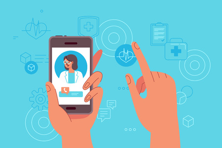 Ilustración de Vector illustration in simple flat style - online and tele medicine concept - hand holding mobile phone with app for healthcare - online consultation with doctor - Imagen libre de derechos