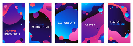 Illustration pour Vector set of abstract backgrounds with bright gradient colors with copy space for text - social media stories for promotion and advertising, flyer banner, promotion and advertising design - image libre de droit