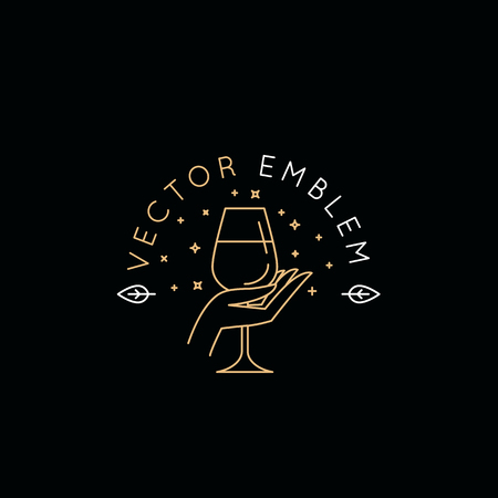 Ilustración de Vector logo design templat and emblem in simple line style - wine label design element and wine restaurant and bar - hand holding glass - Imagen libre de derechos