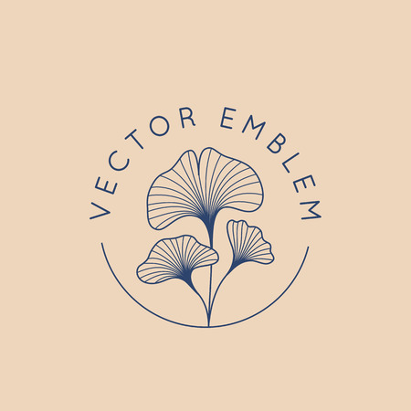 Ilustración de Vector abstract logo design template in trendy linear minimal style - ginkgo biloba leaves - abstract concept for organic food and cosmetics - Imagen libre de derechos