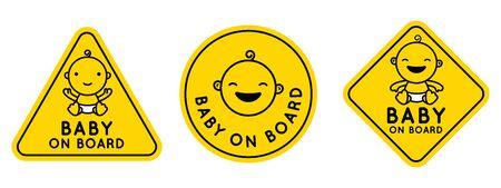 Ilustración de Vector set of signs and emblems - baby on board stickers with smiling cartoon baby character - Imagen libre de derechos
